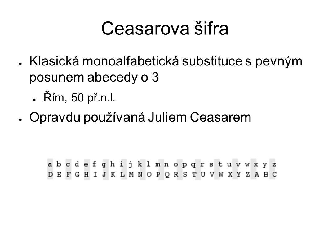Ceasarova šifra Klasická monoalfabetická substituce s pevným posunem abecedy o 3. Řím, 50 př.n.l.
