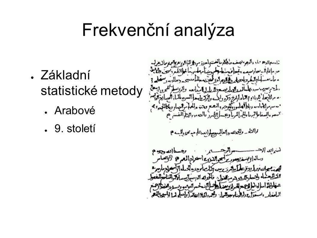 Frekvenční analýza Základní statistické metody Arabové 9. století