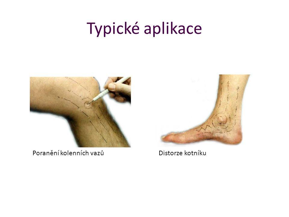 Typické aplikace Poranění kolenních vazů Distorze kotníku