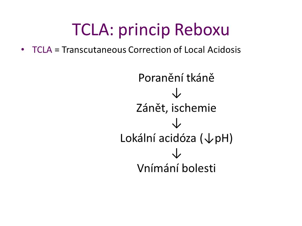 TCLA: princip Reboxu TCLA = Transcutaneous Correction of Local Acidosis.