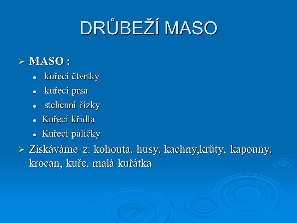 DRŮBEŽÍ MASO MASO : kuřecí čtvrtky. kuřecí prsa. stehenní řízky. Kuřecí křídla. Kuřecí paličky.