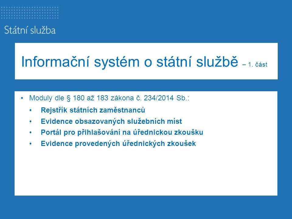 Informační systém o státní službě – 1. část