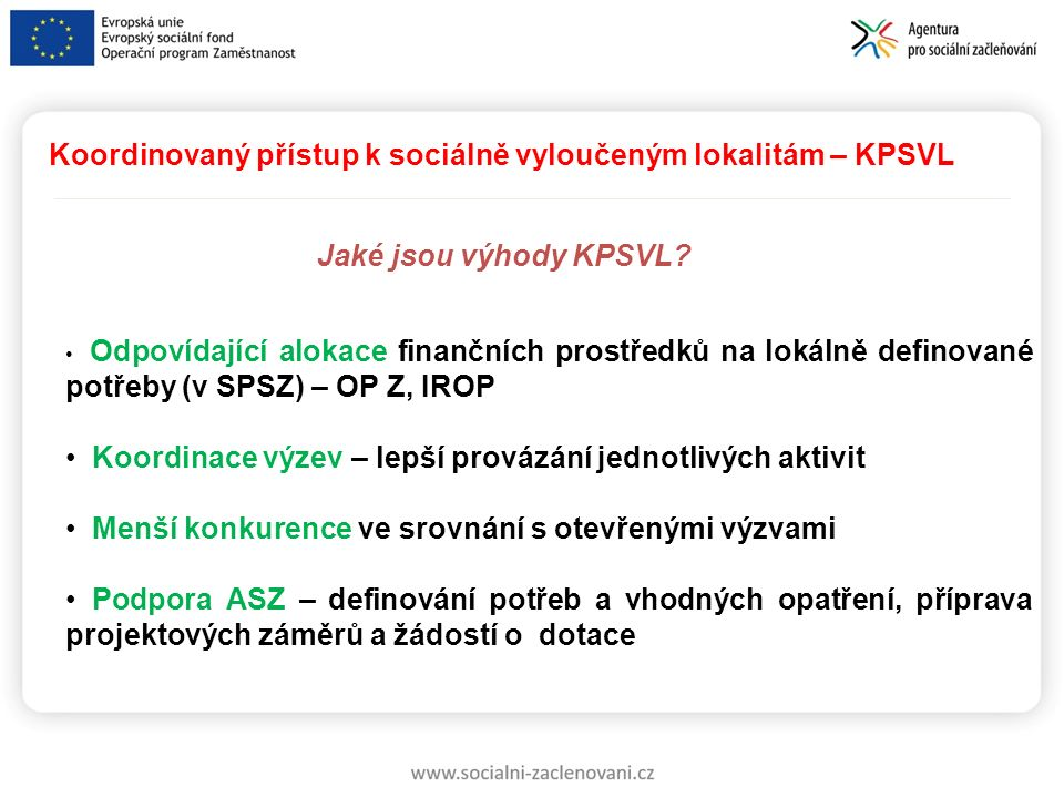 Koordinovaný přístup k sociálně vyloučeným lokalitám – KPSVL