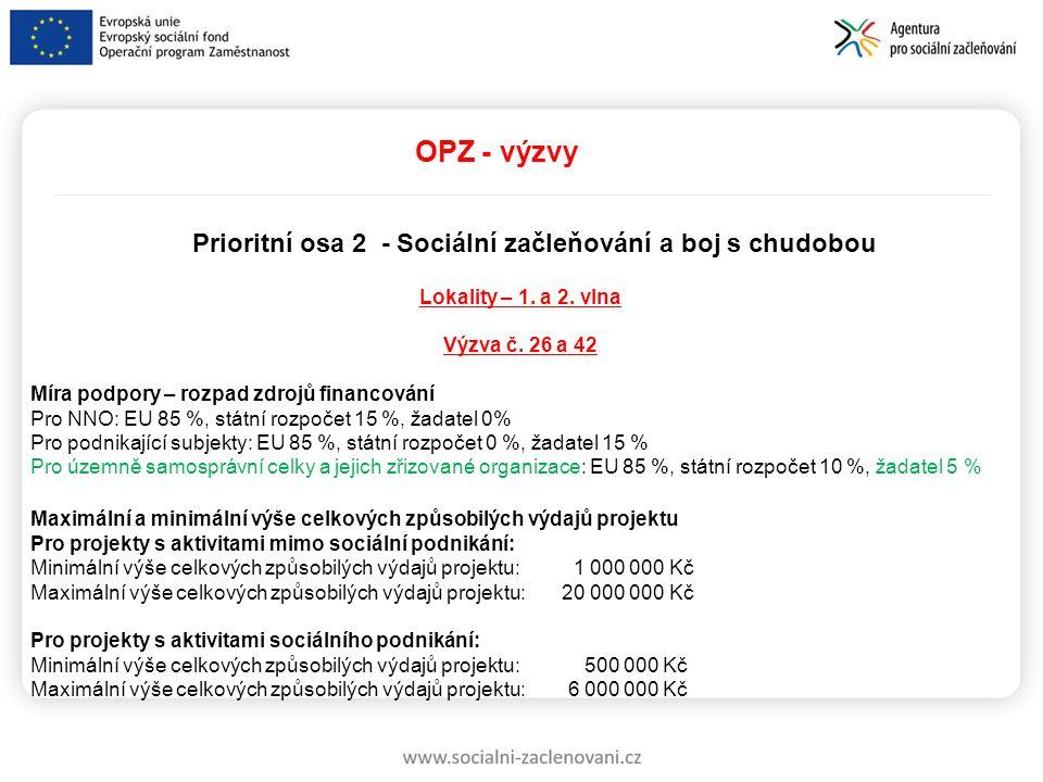 OPZ - výzvy Prioritní osa 2 - Sociální začleňování a boj s chudobou