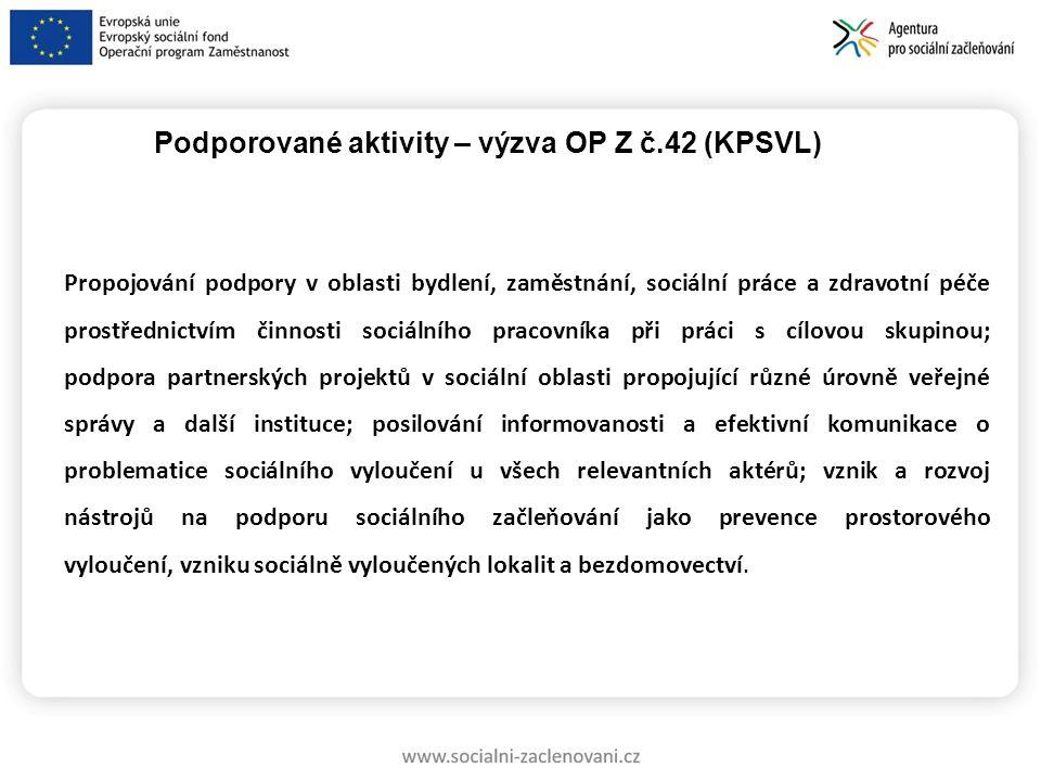 Podporované aktivity – výzva OP Z č.42 (KPSVL)