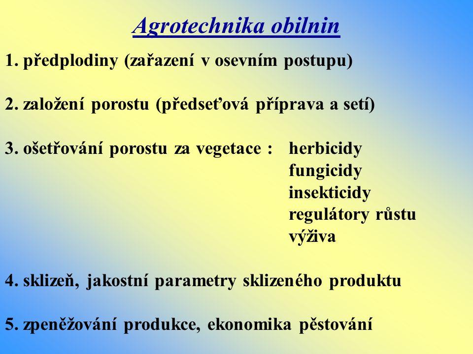 Agrotechnika obilnin 1. předplodiny (zařazení v osevním postupu)