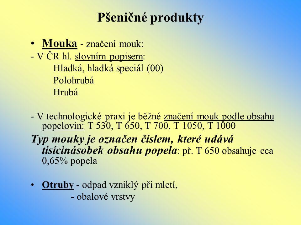 Pšeničné produkty Mouka - značení mouk: