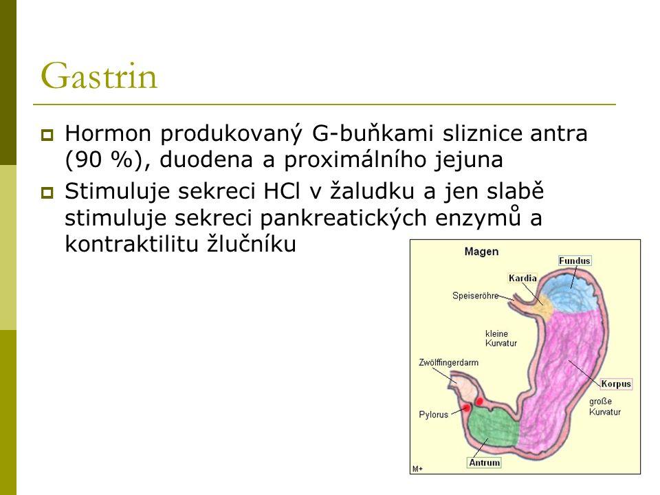 Gastrin Hormon produkovaný G-buňkami sliznice antra (90 %), duodena a proximálního jejuna.