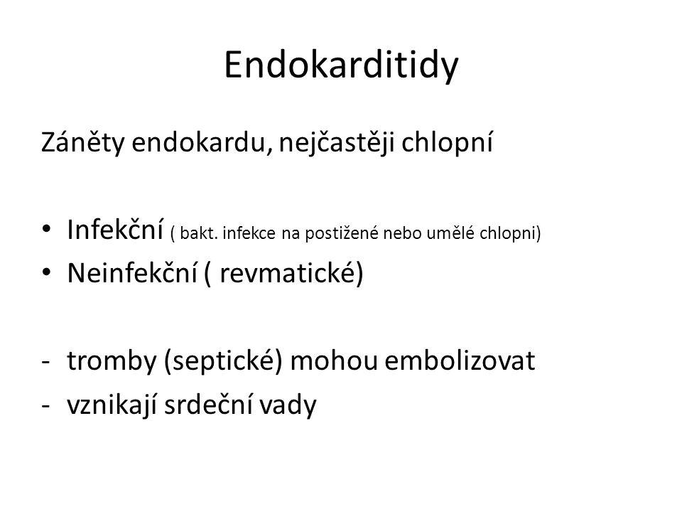 Endokarditidy Záněty endokardu, nejčastěji chlopní