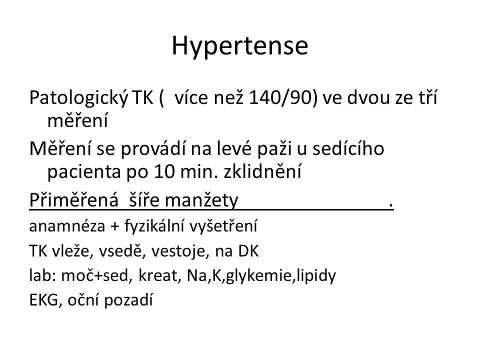 Hypertense Patologický TK ( více než 140/90) ve dvou ze tří měření