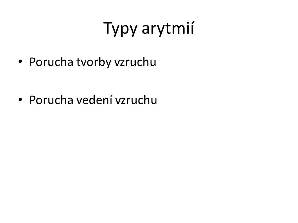 Typy arytmií Porucha tvorby vzruchu Porucha vedení vzruchu