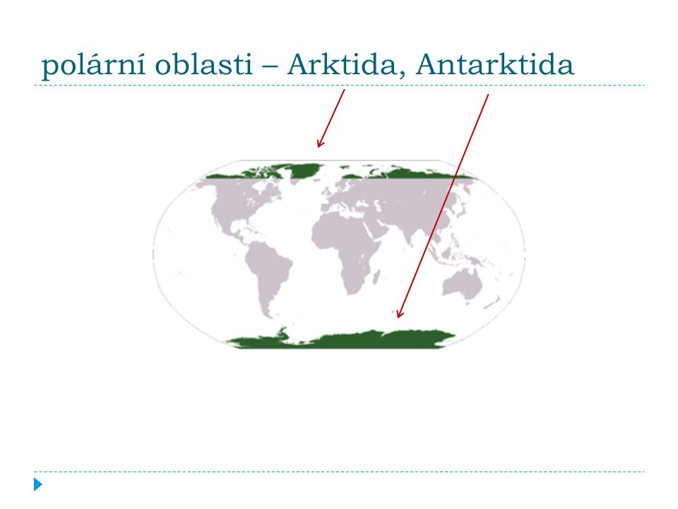 polární oblasti – Arktida, Antarktida