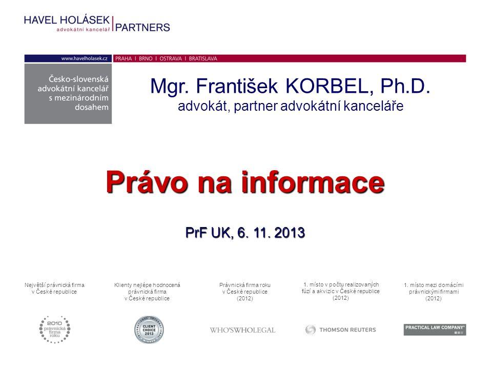 Právo na informace PrF UK, 6. 11. 2013