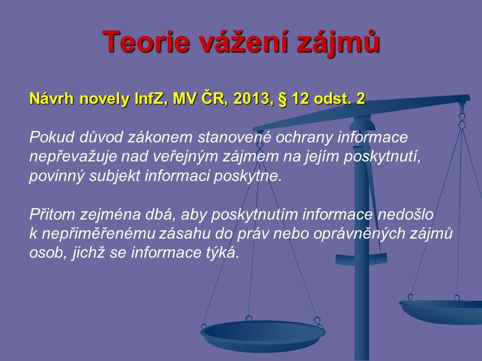 Teorie vážení zájmů Návrh novely InfZ, MV ČR, 2013, § 12 odst. 2
