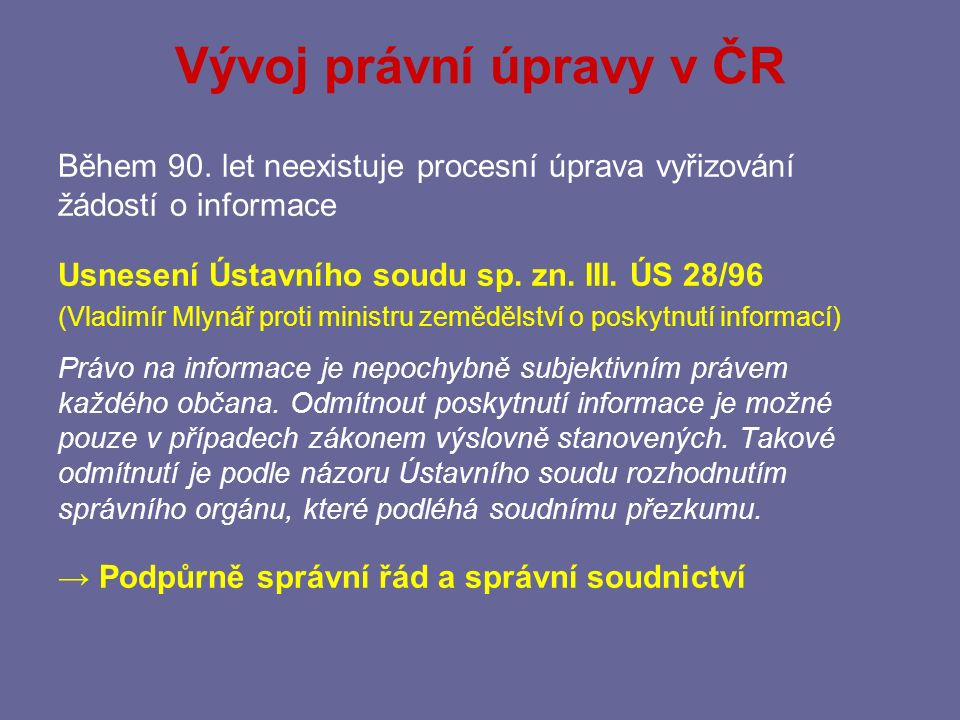 Vývoj právní úpravy v ČR