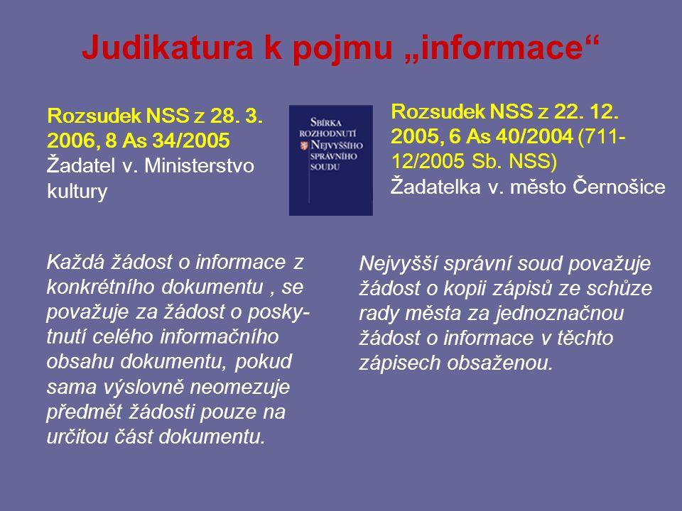 "Judikatura k pojmu ""informace"