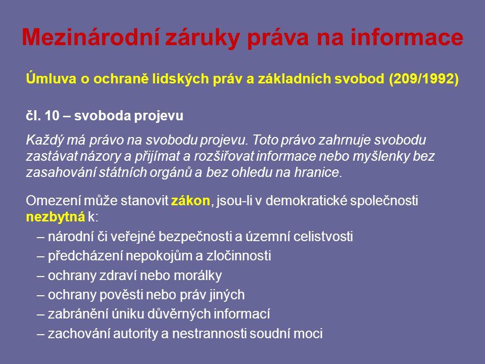 Mezinárodní záruky práva na informace