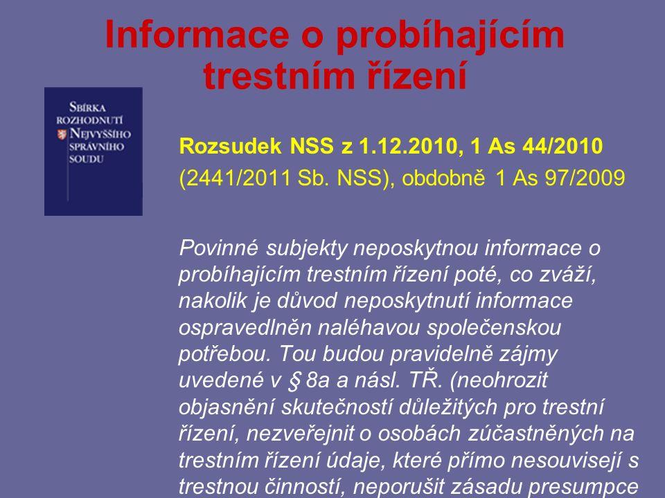 Informace o probíhajícím trestním řízení