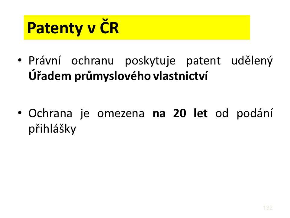 Patenty v ČR Právní ochranu poskytuje patent udělený Úřadem průmyslového vlastnictví.