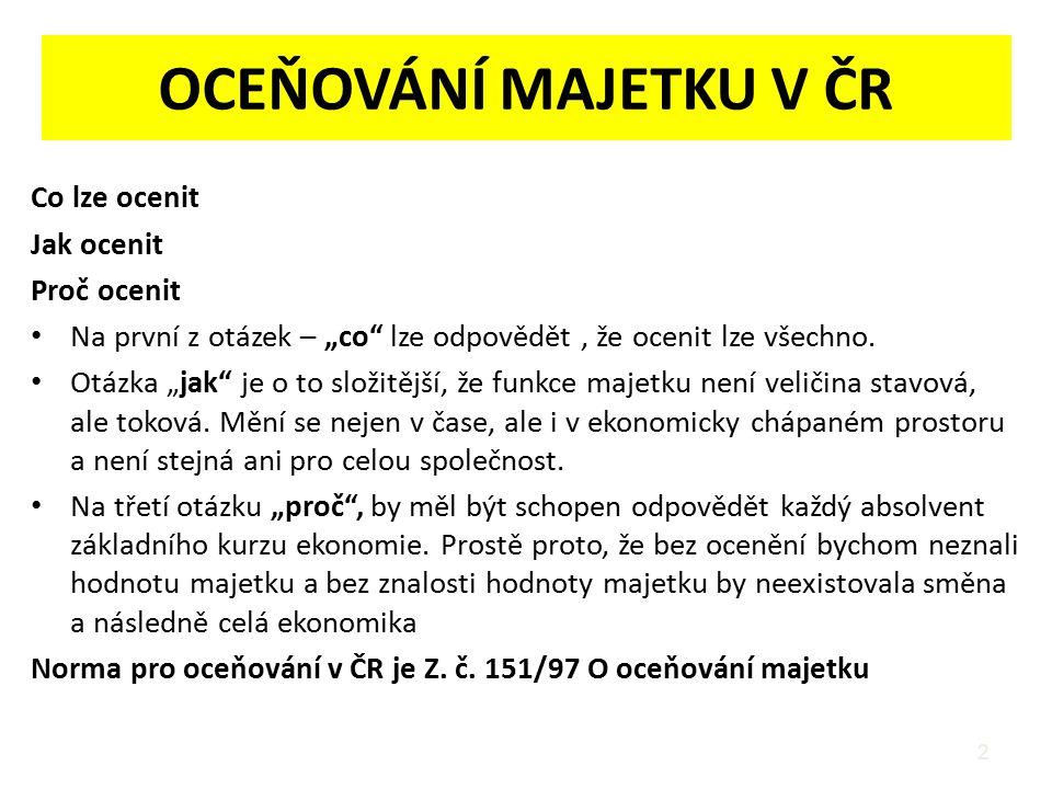 OCEŇOVÁNÍ MAJETKU V ČR Co lze ocenit Jak ocenit Proč ocenit