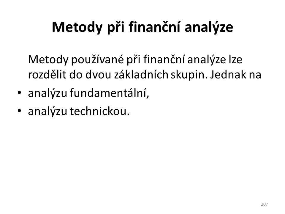 Metody při finanční analýze
