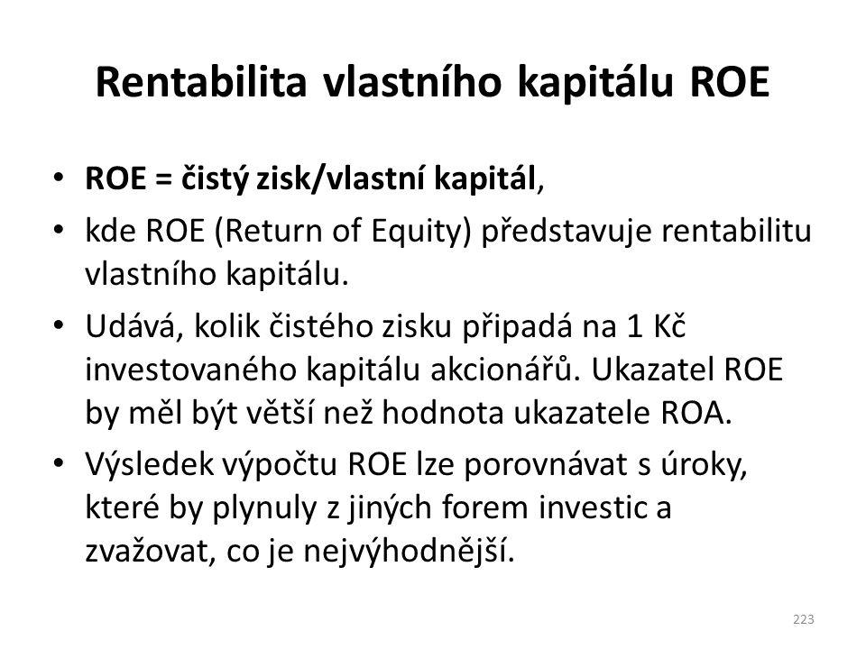 Rentabilita vlastního kapitálu ROE