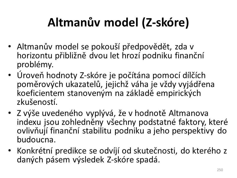Altmanův model (Z-skóre)