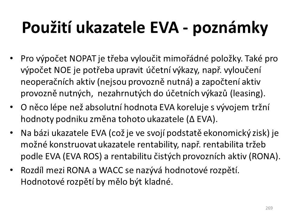 Použití ukazatele EVA - poznámky