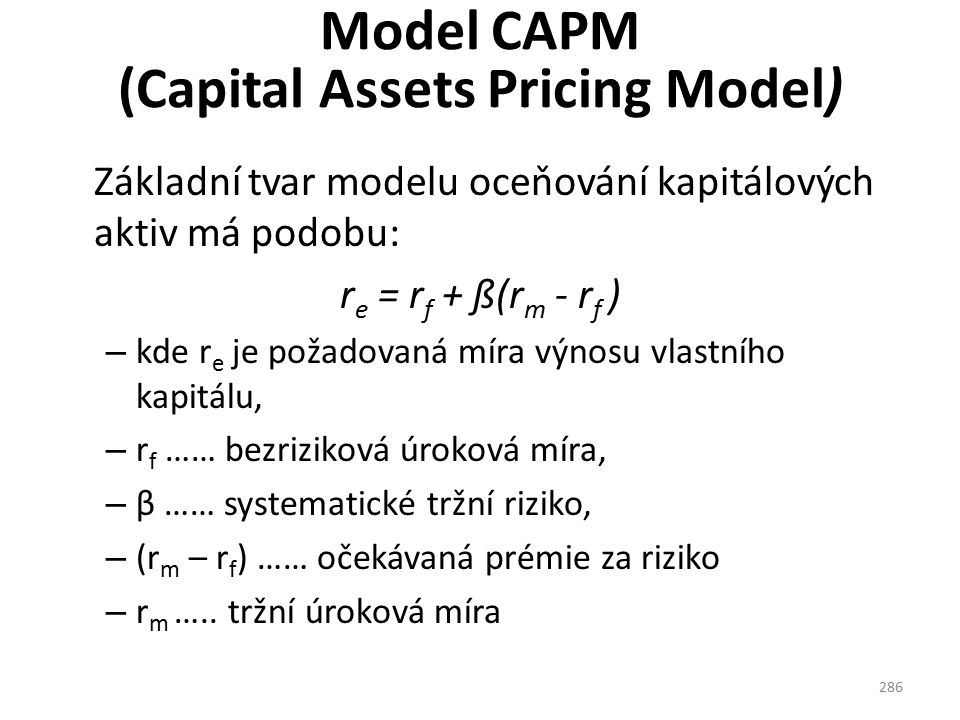 Model CAPM (Capital Assets Pricing Model)