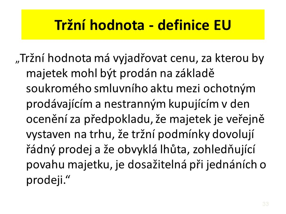 Tržní hodnota - definice EU
