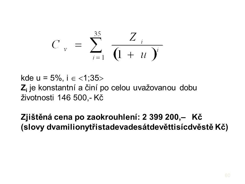 kde u = 5%, i  1;35 Zi je konstantní a činí po celou uvažovanou dobu životnosti 146 500,- Kč. Zjištěná cena po zaokrouhlení: 2 399 200,– Kč.