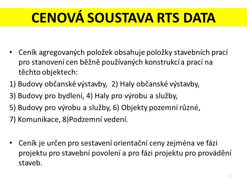 CENOVÁ SOUSTAVA RTS DATA