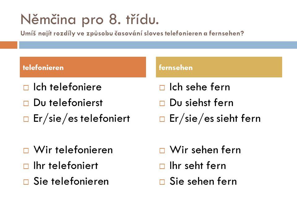 Němčina pro 8. třídu. Umíš najít rozdíly ve způsobu časování sloves telefonieren a fernsehen