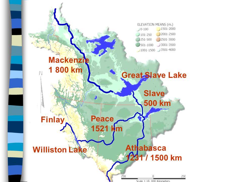 Mackenzie Mackenzie 1 800 km Great Slave Lake Slave 500 km Peace