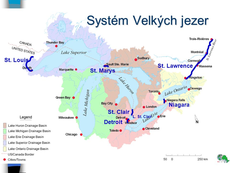 Systém Velkých jezer St. Louis St. Lawrence St. Marys Niagara