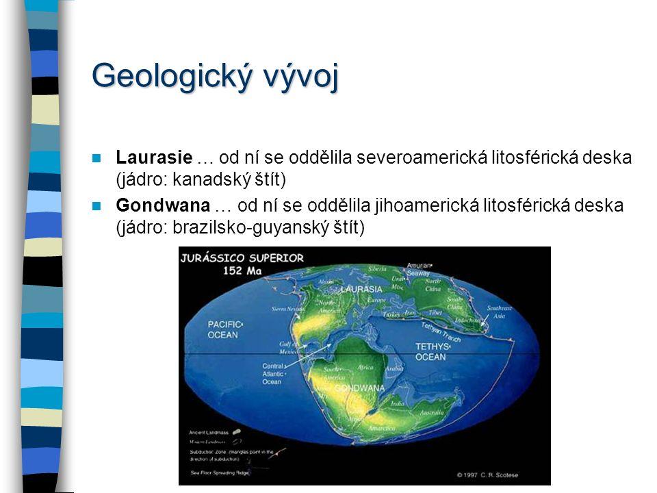 Geologický vývoj Laurasie … od ní se oddělila severoamerická litosférická deska (jádro: kanadský štít)
