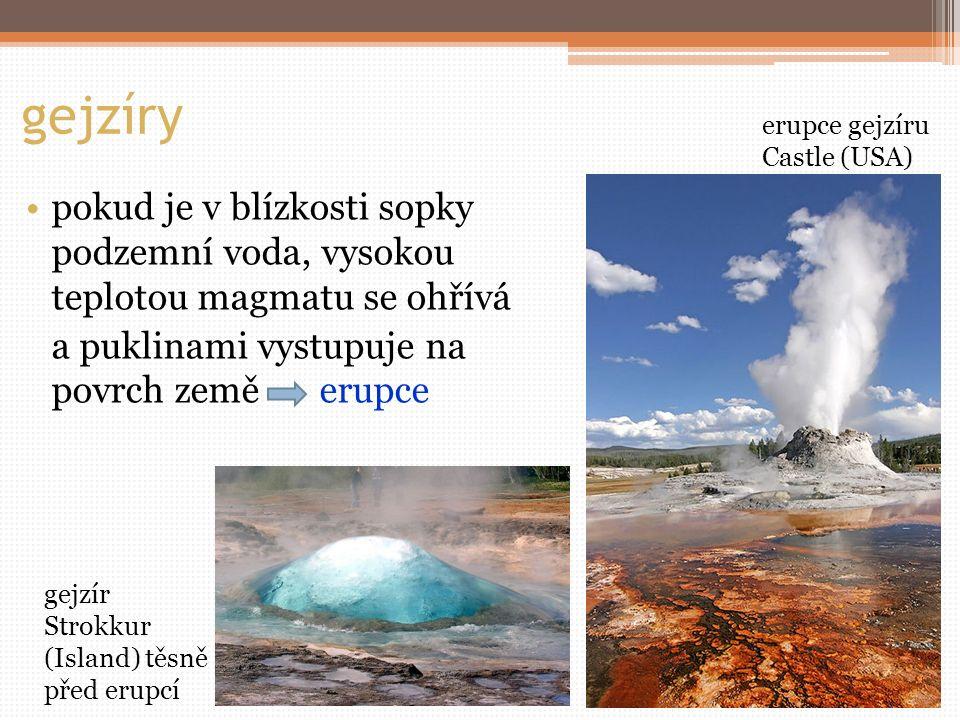 gejzíry erupce gejzíru Castle (USA) pokud je v blízkosti sopky podzemní voda, vysokou teplotou magmatu se ohřívá.
