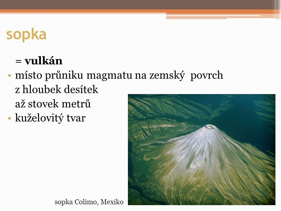 sopka = vulkán místo průniku magmatu na zemský povrch