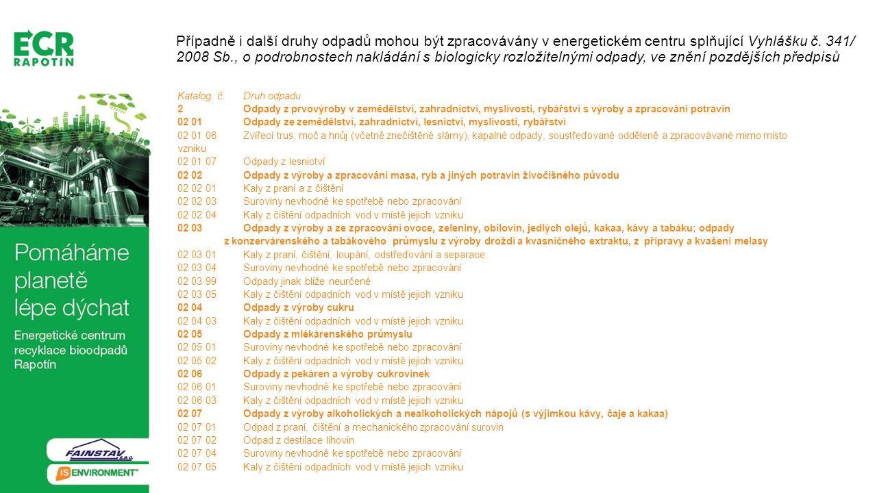 Případně i další druhy odpadů mohou být zpracovávány v energetickém centru splňující Vyhlášku č. 341/ 2008 Sb., o podrobnostech nakládání s biologicky rozložitelnými odpady, ve znění pozdějších předpisů