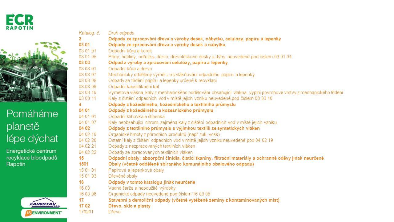 Katalog. č. Druh odpadu 3 Odpady ze zpracování dřeva a výroby desek, nábytku, celulózy, papíru a lepenky.