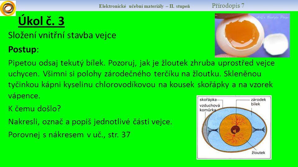 Úkol č. 3 Složení vnitřní stavba vejce Postup:
