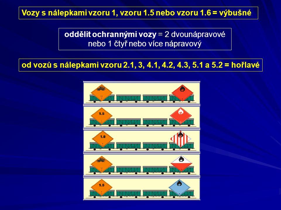 Vozy s nálepkami vzoru 1, vzoru 1.5 nebo vzoru 1.6 = výbušné