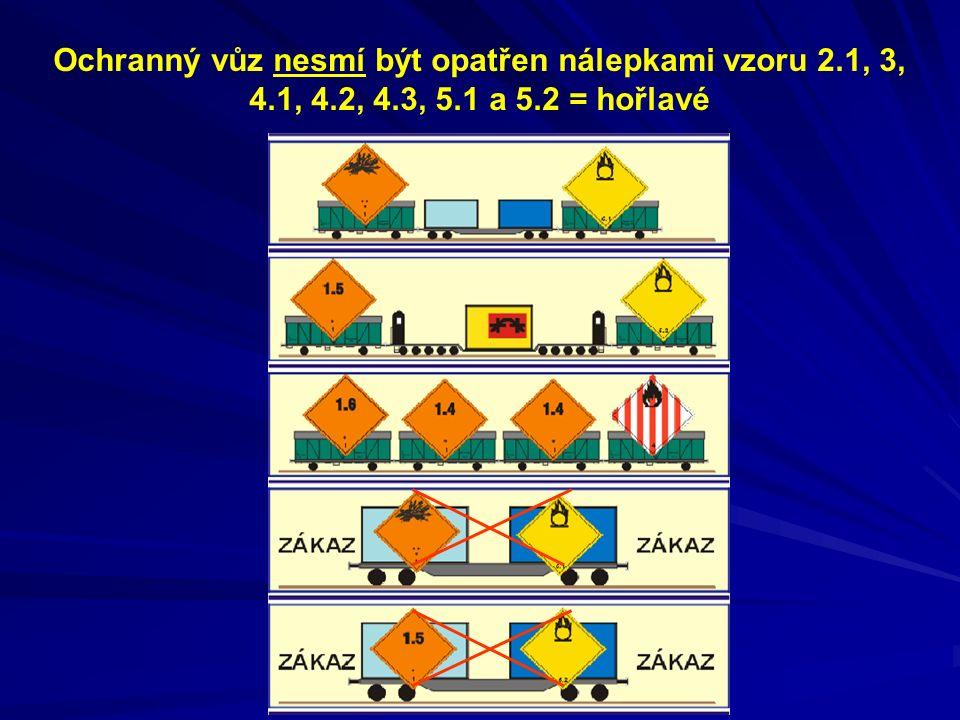 Ochranný vůz nesmí být opatřen nálepkami vzoru 2. 1, 3, 4. 1, 4. 2, 4