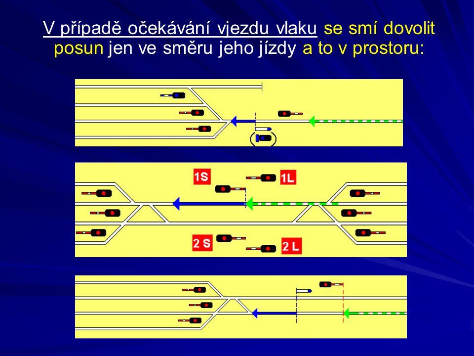 V případě očekávání vjezdu vlaku se smí dovolit posun jen ve směru jeho jízdy a to v prostoru: