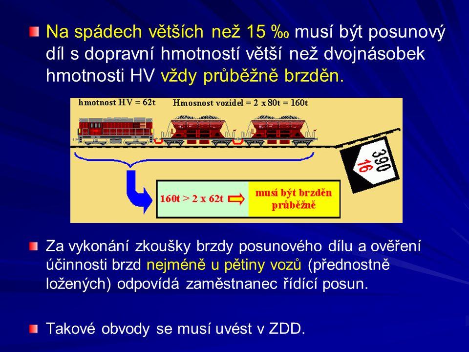Na spádech větších než 15 ‰ musí být posunový díl s dopravní hmotností větší než dvojnásobek hmotnosti HV vždy průběžně brzděn.