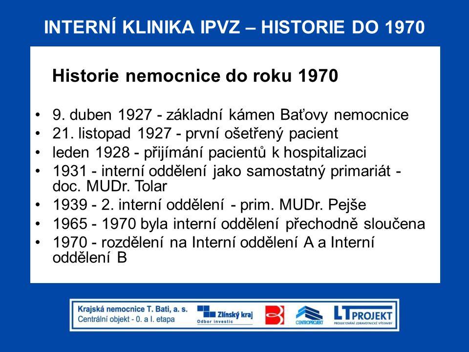INTERNÍ KLINIKA IPVZ – HISTORIE DO 1970