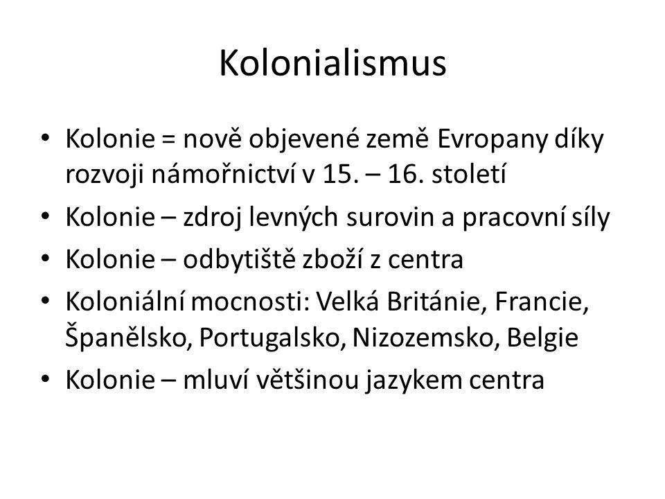 Kolonialismus Kolonie = nově objevené země Evropany díky rozvoji námořnictví v 15. – 16. století. Kolonie – zdroj levných surovin a pracovní síly.