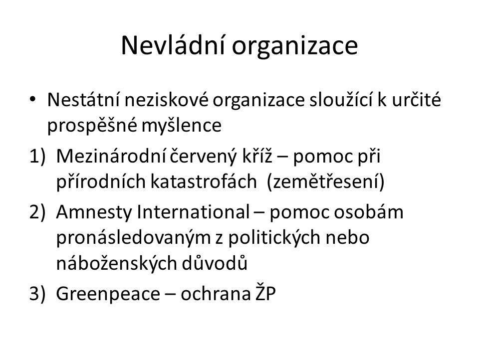 Nevládní organizace Nestátní neziskové organizace sloužící k určité prospěšné myšlence.