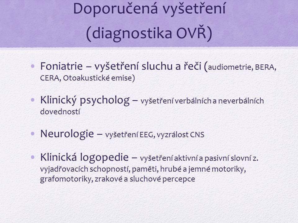 Doporučená vyšetření (diagnostika OVŘ)