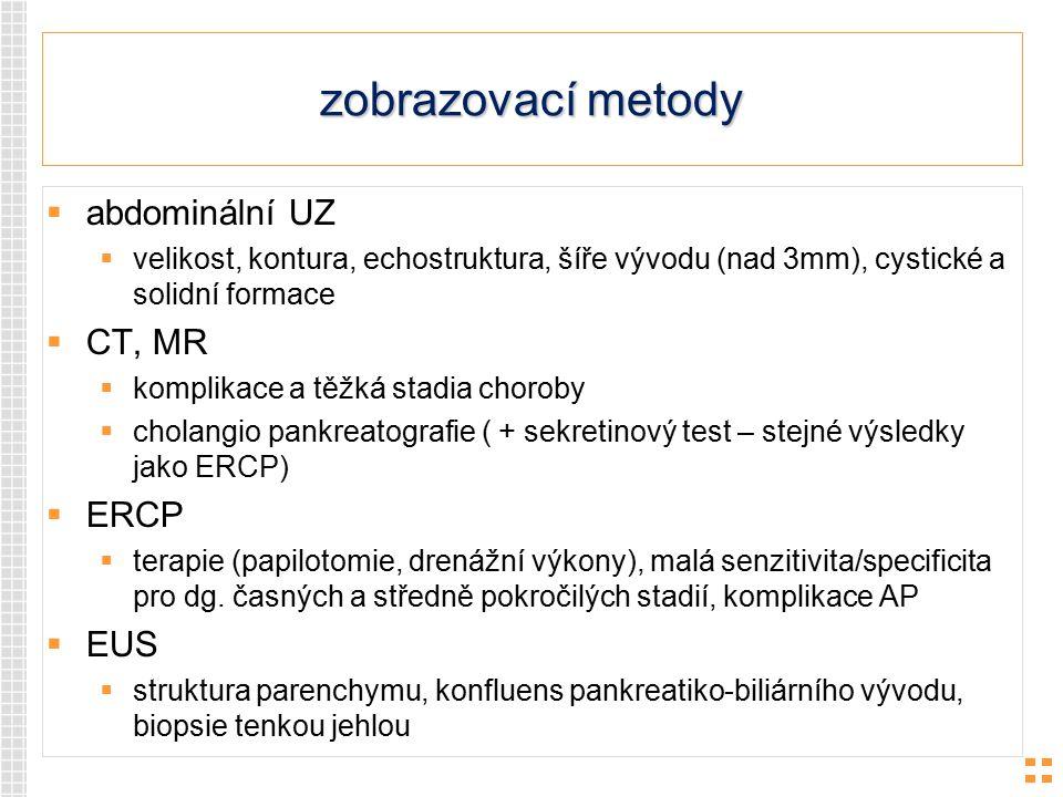 zobrazovací metody abdominální UZ CT, MR ERCP EUS